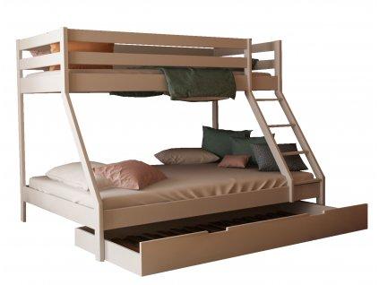 Mikael biela poschodová posteľ s rozšíreným lôžkom 200x140 cm + prístelka