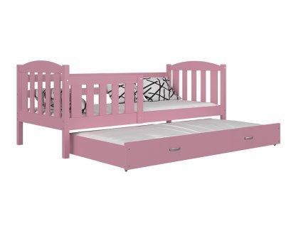 Kubus P2 ružová posteľ s prístelkou 190x80 Color