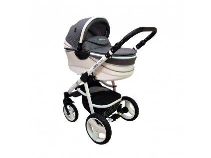 Skvostný kombinovaný kočík Aprilia Coto Baby 2v1 - GREY LINEN ECO