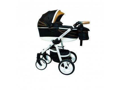 Kombinovaný kočík Aprilia Coto Baby 3v1 - Čierna/Hnedá/Biela ECO