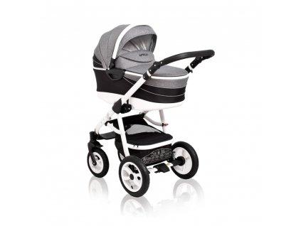 Kombinovaný kočík pre deti Aprilia Coto Baby 3v1 - BLACK-GREY