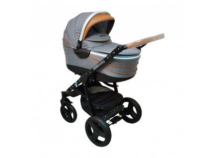 Kvalitné kombinované kočíky Aprilia Coto Baby 3v1 - GREY-BROWN