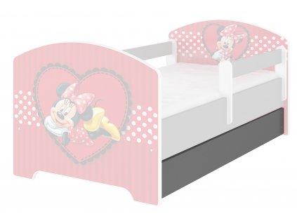 Úložný box pre detskú posteľ Oskar 140 - tmavosivý Minnie srdce