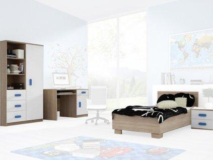 Študentská izba SVEND dub sonoma/modrá