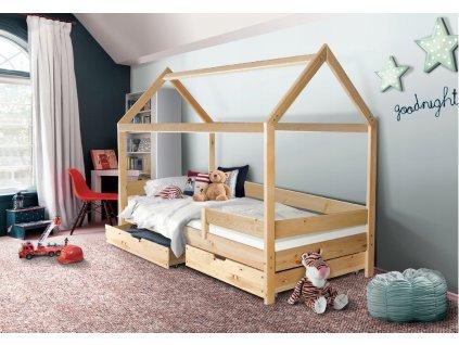Detská posteľ domček Martin 200x90 - prírodný