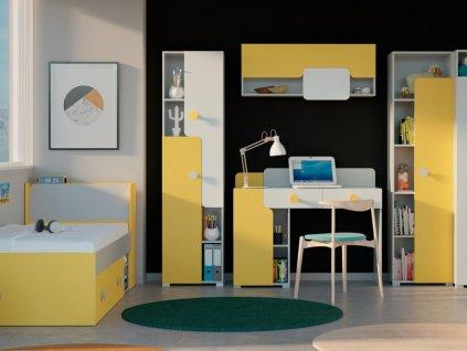 Sektorový nábytok TANIA - sivá/žltá