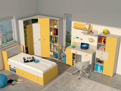 Sektorový nábytok TANIA 1 - sivá/žltá
