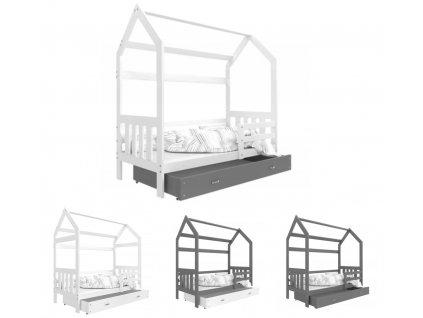 Detská posteľ Domček 2 (190x80 cm) - kombinácia farieb biela/sivá