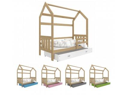 Detská posteľ Domček 2 (190x80 cm) - borovica - viac farieb