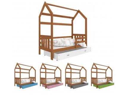 Detská posteľ Domček 2 (190x80 cm) - jelša - viac farieb