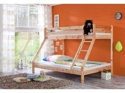 Poschodová posteľ s rozšíreným spodným lôžkom Elias 140x200 - prírodná