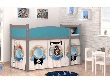 Vyvýšená detská posteľ Swing 184x80 - piráti