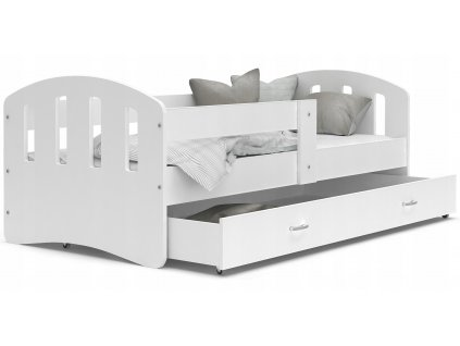 Šťastie biela Color detská posteľ 200x80 Biela