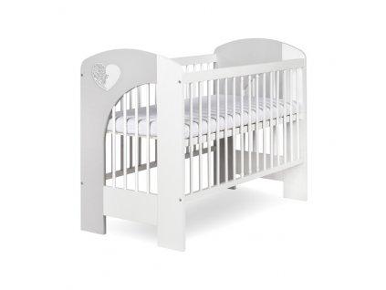 Klupš detská postieľka 120x60 Nel srdiečko biely/sivý