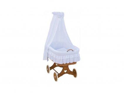 Biely prútený košík pre deti Martin s baldachýnom