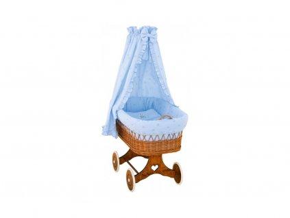 Detský prútený košík Medvedík s baldachýnom - modrý