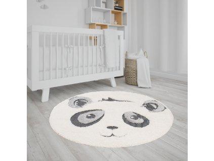Okrúhly detský koberec s motívom pandy 120x120 cm