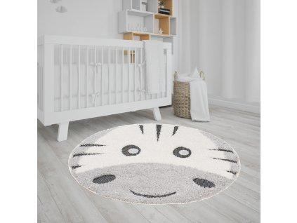 Okrúhly detský koberec s motívom zebry 120x120 cm