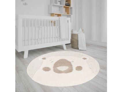Okrúhly detský koberec béžový s motívom medvedíka 120x120 cm