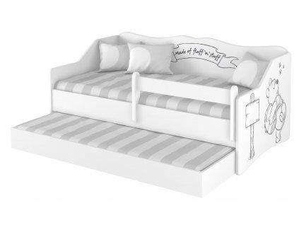 Detská posteľ Lulu Macko Pu s prístelkou - 160x80 cm