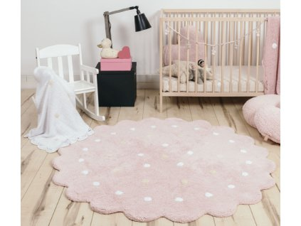 Okrúhly práteľný koberec Dots Pink