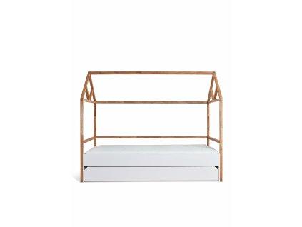 Detská posteľ domček JULKO biela 200x90 so zásuvkou