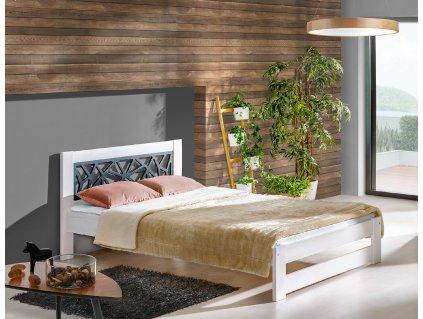 Biela masívna posteľ ROMA