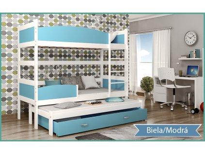 Twist 3 biela MDF poschodová posteľ s boxom 184x80