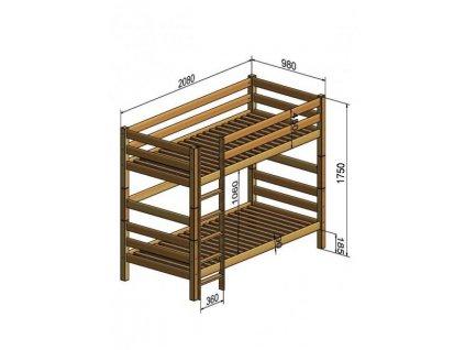 28520 poschodova postel 200x90 oliver 2 buk s barierou a uloznym boxom vypredaj