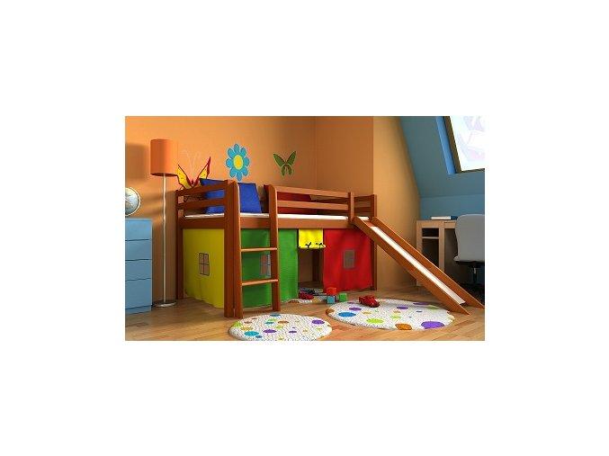 Detská vyvýšená posteľ so šmýkačkou Gabika 180x80 Jelša