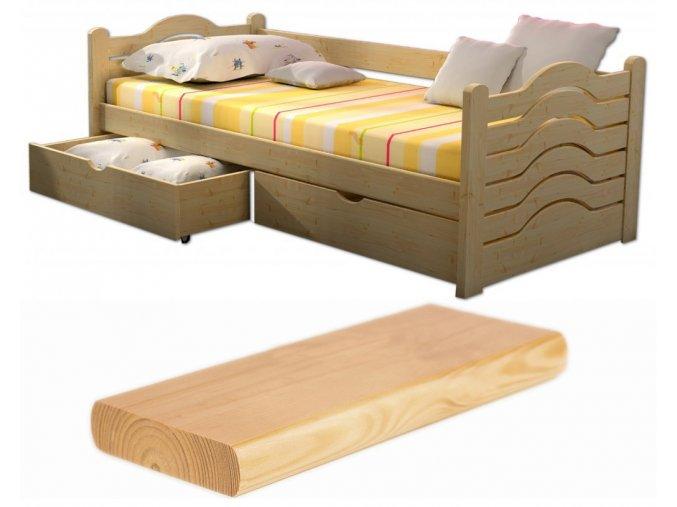 Detské postele Lpo 004 200x90 s úl. priestorom