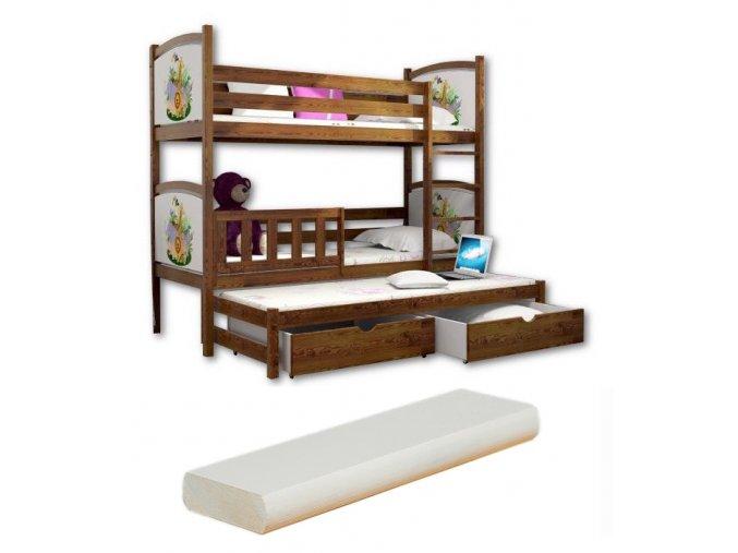 LPT 007 200x90 Poschodová posteľ s motívmi a prístelkou