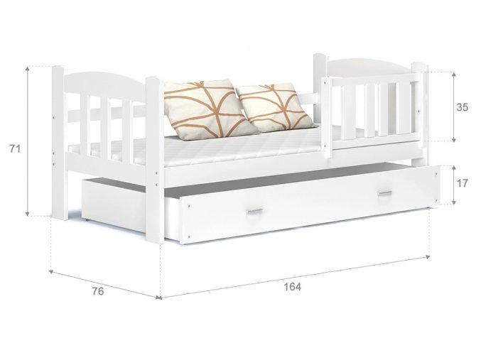 Tedi 160x70 Biela detská posteľ