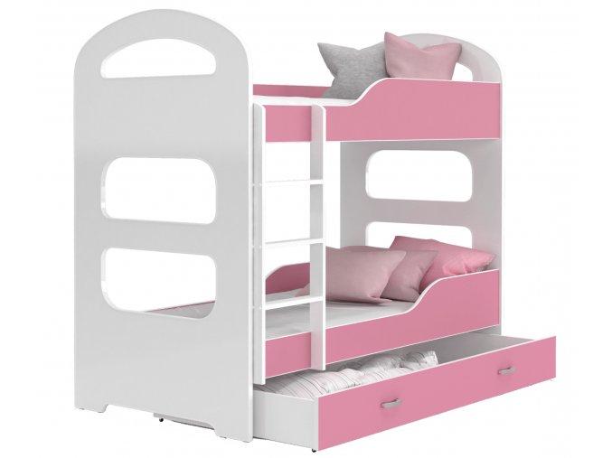 Poschodové postele Patrik 160x80 Ružové