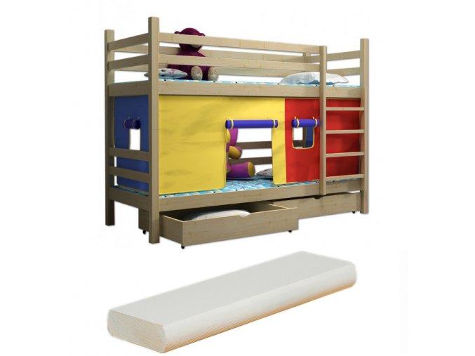 Super poschodová posteľ Hubert 200x90 so záclonkou