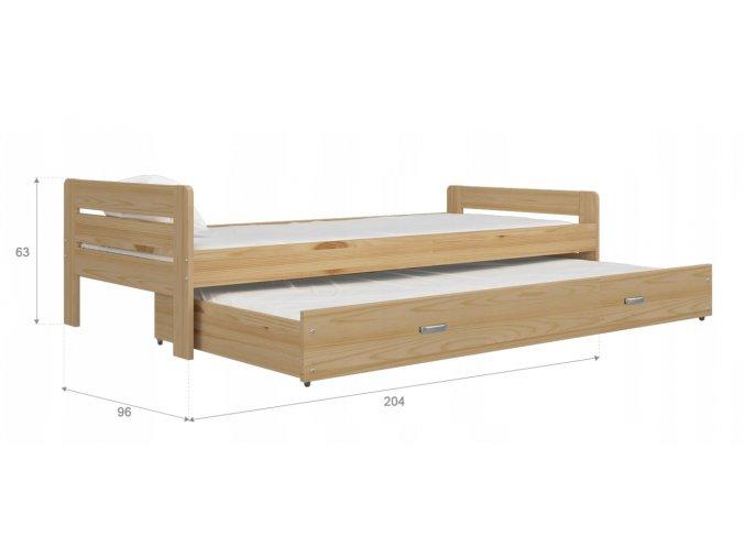 Ben 200x90 borovica rozkladacia postel s prístelkou