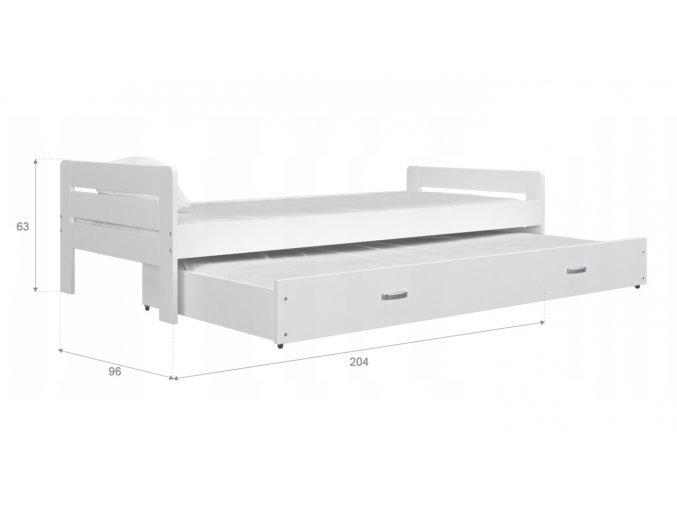 Ben biela posteľ s výsuvnou prístelkou 200x90