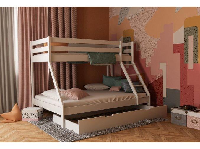 Mikael biela poschodová posteľ s rozšíreným lôžkom 200x140 + prístelka