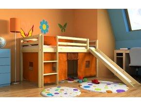 Gabika Borovica 180x80 vyvýšená detská posteľ so šmýkalkou