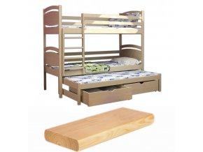 LPT 003 200x90 Poschodová posteľ s prístelkou