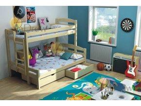 LPT 004 180x120 Poschodová posteľ s rozšíreným spodným lôžkom