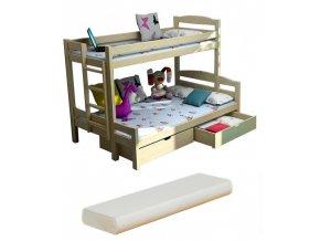 LPT 004 200x120 Poschodová posteľ s rozšíreným spodným lôžkom