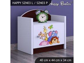 Nočný stolík Happy Gaštan venge SZNO 03 všetky motívy