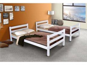 Poschodová posteľ pre dospelých Oliver 2 Biela z masívu buka