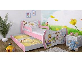 Postele pre deti Dream ružové 140x70 bez úl. boxu 37 motívov