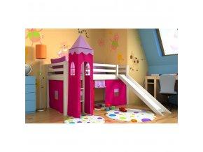 Vyvýšené postele Gabika so šmýkačkou a vežou Biela