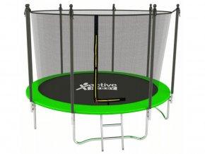 Trampolína Zelená Active Hobby 252cm s vnútornou sieťou a rebríkom
