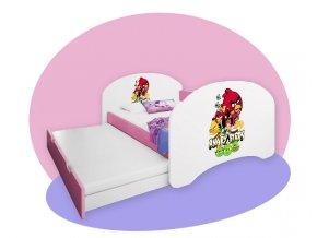 Detská posteľ Hobby P2 160x80 ružová - rozprávkové motívy
