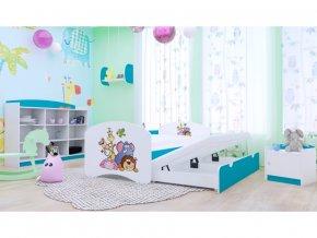 Happy P2 180x90 detská posteľ s prístelkou modrá - 89 motívov