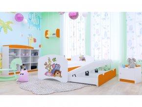 Detská posteľ Happy P2 s výsuvným lôžkom 200x90 oranžová